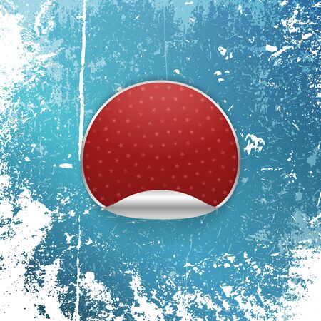 christmas scroll: Realistic red circle Sticker with Snowflakes on Ice and Snow Background. Christmas scroll Label