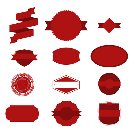 collection red: Vintage red Christmas Labels Set on white Background. Vector Elements for Your Design