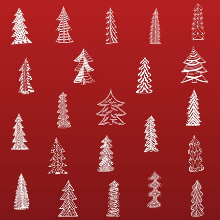 christmas tree set: Doodle Christmas Tree Set on red Background.