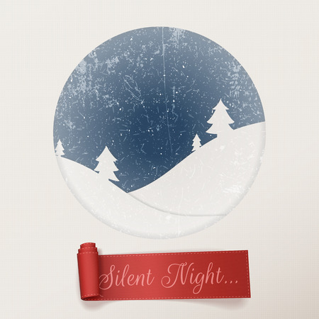 silent: Christmas silent Night white greeting Card with Snowflakes, Hills and Trees and red holiday scroll Ribbon.