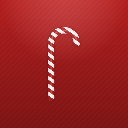 sweet food: Realistic Christmas sweet Candy Cane on striped red Background. Vector Illustration