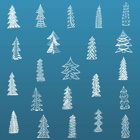 christmas tree set: Doodle Christmas Tree Set on blue Background. Vector Illustration