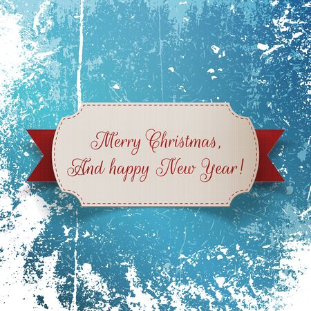 Realistic Christmas greeting paper Label and red Ribbon on Snow and Ice Background. Vector Illustration