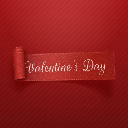 curved ribbon: Valentines Day realistic curved Ribbon. Vector Illustration
