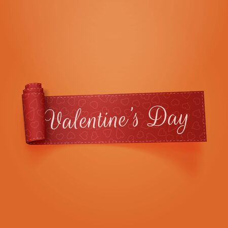 paper heart: Valentines Day realistic scroll red Ribbon. Illustration