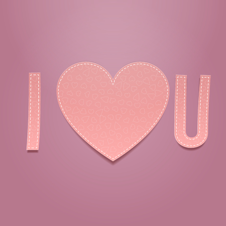i label: I love You. Realistic Valentines Day greeting paper Label on pink Background. Vector Illustration