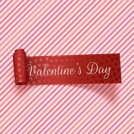 corazon: Día de San Valentín realista Tag rojo de fiesta en color rosa de fondo de rayas. Ilustración vectorial Vectores