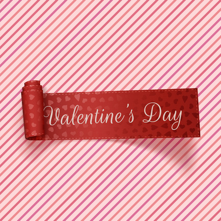 Valentines Day realistic red festive Tag on pink striped Background. Vector Illustration