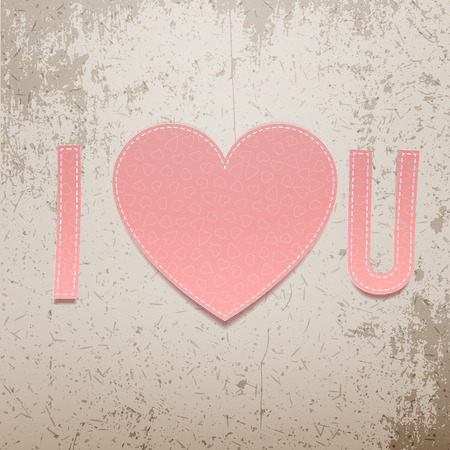 paper texture: I love You. Realistic Valentines Day greeting paper Sign on grunge Background. Vector Illustration Illustration