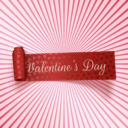 paper texture: Valentines Day realistic red greeting Ribbon with Text on pink striped Background. Vector Illustration