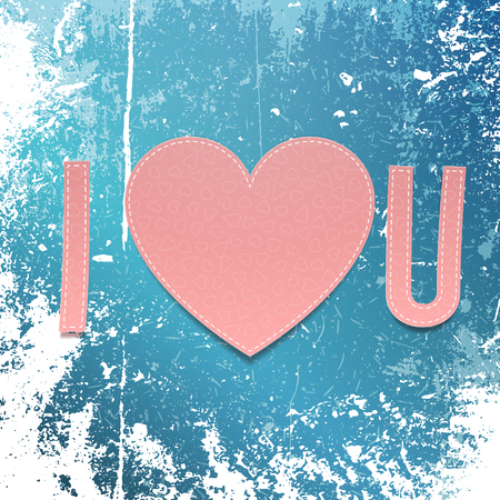 abbreviated: Paper Inscription I love U with Heart on winter Vackground. Vector Valentines Day illustration