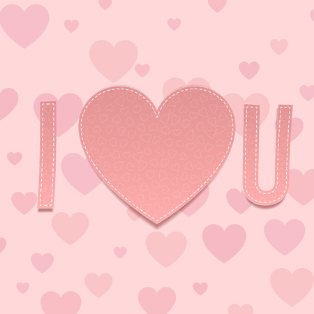 abbreviated: Valentines Day paper Inscription I love U with Heart on pink Background with Pattern. Vector illustration Illustration
