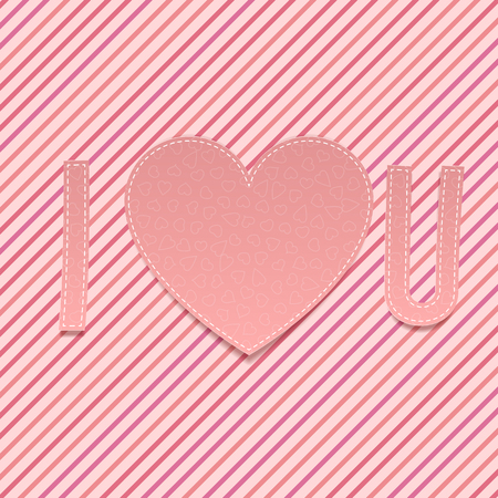 i love u: Valentines Day paper Abbreviation I love U with Heart on pink striped  Background. Vector illustration Illustration