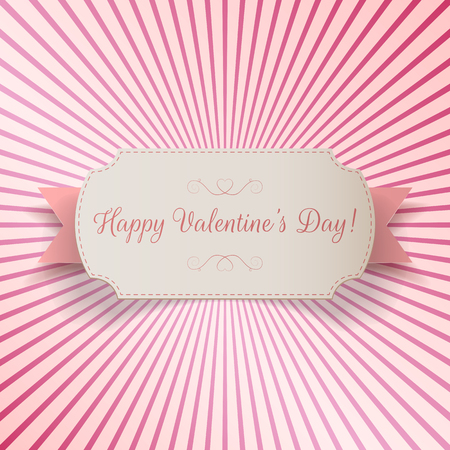 bend: Realistic Valentines Day paper bend Banner Template on pink striped Background. Vector Illustration