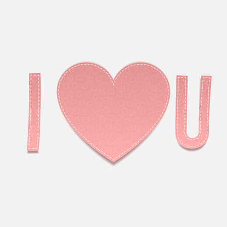 i love u: Inscription I love u on white Background. Vector Valentines Day paper Lettering Illustration Illustration
