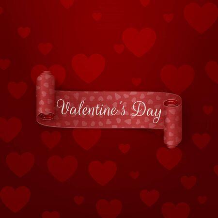 fondo rojo: Realista de desplazamiento de la cinta roja del d�a de San Valent�n con texto de saludo en fondo rojo oscuro con el patr�n de corazones. Ilustraci�n del vector Vectores