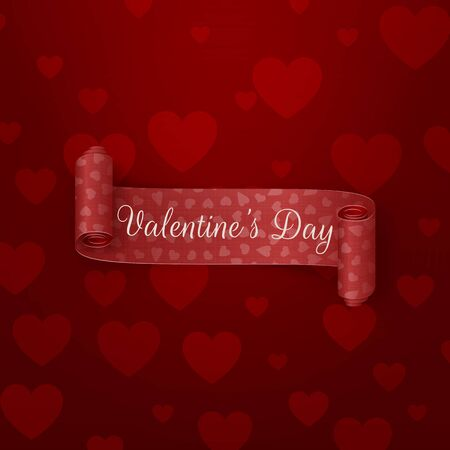 festive background: Realistic red scroll Valentines Day Ribbon with greeting Text on dark red Background with Hearts Pattern. Vector Illustration