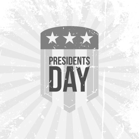 presidents: Presidents Day vector Label. Text on grunge Shield with Flag