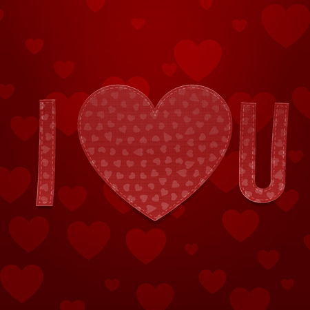 i love u: I love U Abbreviation. Realistic Valentines Day vector paper Symbols on dark red Background Illustration