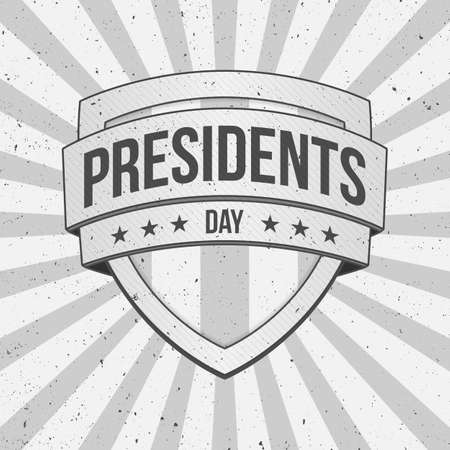 presidents: Presidents Day vector Shield on striped grunge Background