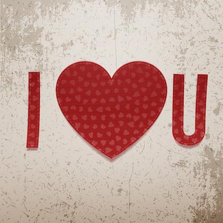 i love u: I love You Abbreviation. Realistic Valentines Day vector paper red Symbols on grunge Background Illustration