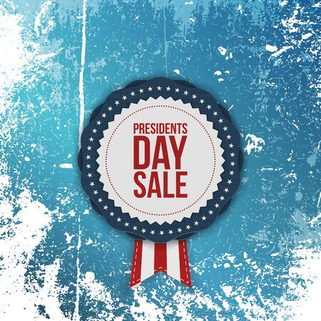 patriots: Presidents Day Sale realistic vector Banner with striped red and white Ribbon