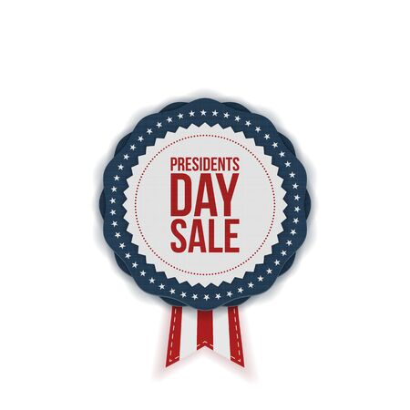 Presidents Day Sale realistic vector Emblem with Ribbon on white Background Illustration