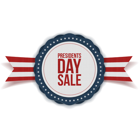 Presidents Day Sale discount Label with Ribbon on white Background Stock Vector - 51351578