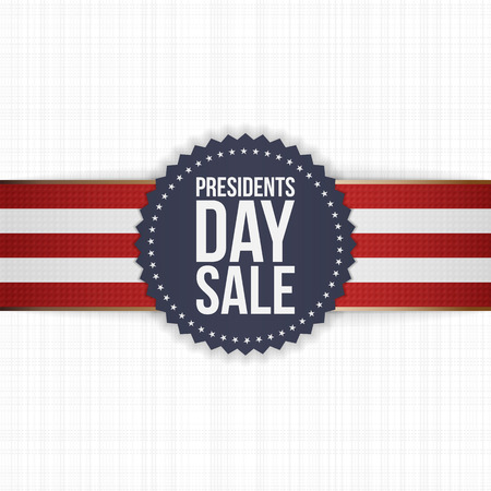 sale sign: Presidents Day Sale realistic blue Label with striped Ribbon on white textile Background