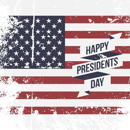 bandera blanca: Feliz D�a de los Presidentes EE.UU. grunge vector de fondo de la bandera