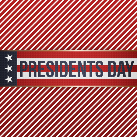 patriotic usa: Presidents Day realistic vector patriotic Banner with Text on srtiped Background