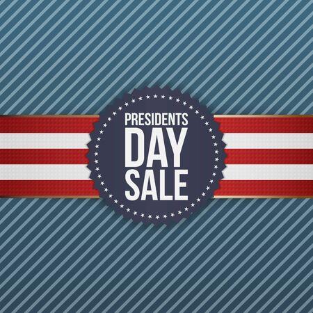 presidents: Presidents Day Sale realistic blue USA Emblem on striped Background
