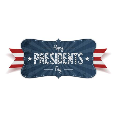 national holiday: Realistic vector retro striped blue Banner with Happy Presidents Day Text, Stars, red and white Ribbon and Shadows on white Background. Patriotic design Element for USA national Holiday