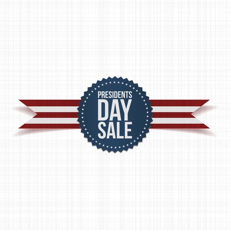Blue Emblem with Presidents Day Sale Text, white Stars and striped Ribbon on white Textile Background. Vector realistic Label for your Design. Hational Holiday of USA