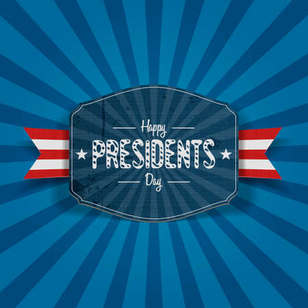 national holiday: Realistic vector retro blue Banner with Happy Presidents Day Text, Stars, red and white Ribbon and Shadows on striped Background. Illustration for USA national Holiday