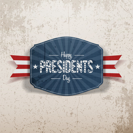 national holiday: Happy Presidents Day retro blue Banner with Stars and Ribbon on grunge Background. Realistic vector design Element for USA national Holiday
