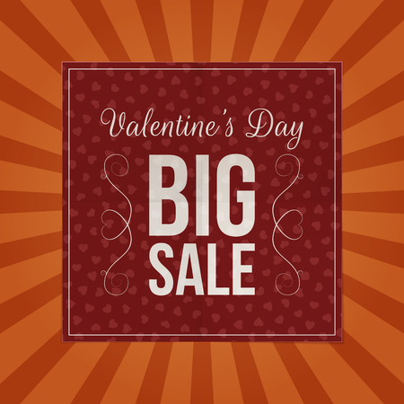 square sheet: Valentines Day Big Sale dark red paper Sheet with Hearts Pattern, Text and Shadow on orange striped Background. Realistic vector marketing square Banner for your Store Illustration