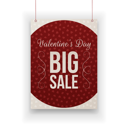 red retail: Valentines Day big Sale hanging dark red retail vector paper Sheet with  Text, Hearts Pattern and Shadow isolated on white Background Illustration