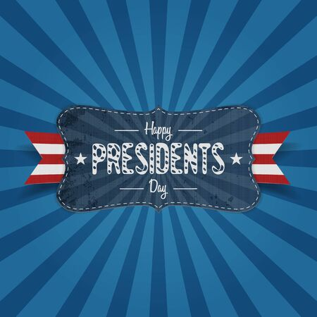 patriotic background: Happy Presidents Day vintage Banner with Stars and Ribbon on blue striped Background. Realistic vector patriotic design Element for USA national Holiday Illustration