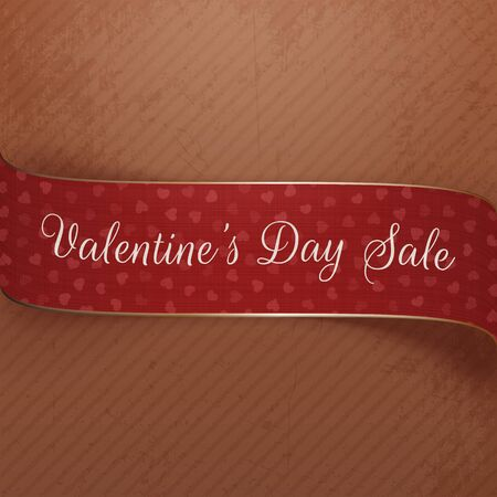 golden ribbon: Valentines Day Sale vector curved red and golden Ribbon with Hearts Pattern, greeting Text and Shadow on grunge cardboard Background. Beautiful romantic Holiday Design Illustration