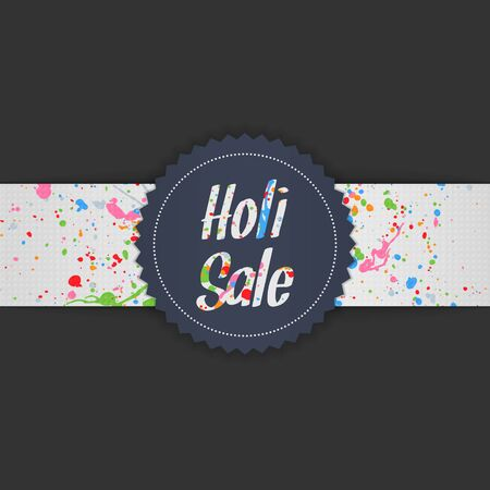dhulandi: Holi Sale Text on vector paper blue Label and color Splashes on white Ribbon. Indian Festival of Colors Celebration Symbol