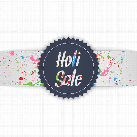 dhulandi: Holi Sale blue Emblem with white Ribbon and Text