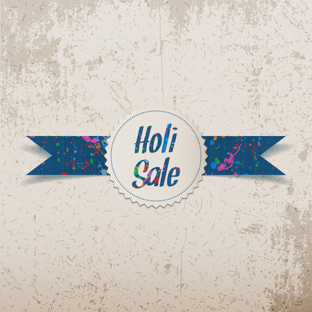 dhulandi: Holi Sale white Banner with Ribbon and Text