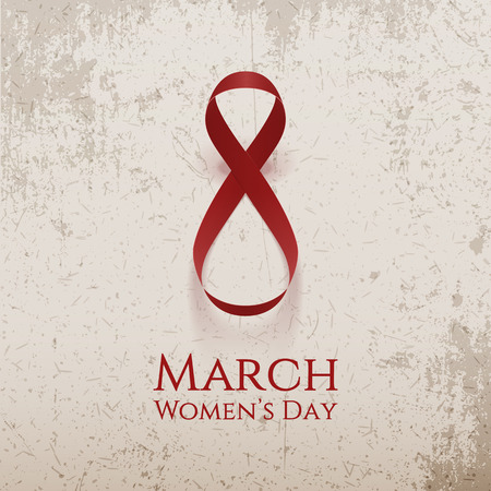 March 8 Womens Day red vector curved Ribbon as Eight Number Illustration