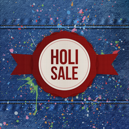 dhulandi: Holi Sale vector round Banner with red Ribbon and color Splashes on blue denim Background