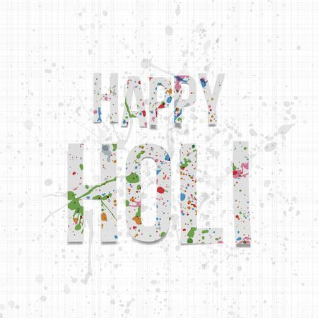 dhulandi: Happy Holi vector paper Words with color Splashes on white Textile Background