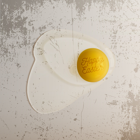 raw egg: Realistic Easter Chicken raw Egg with Text. Vector Illustration