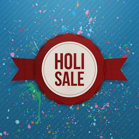 dhulandi: Holi Sale vector red round Banner with Ribbon