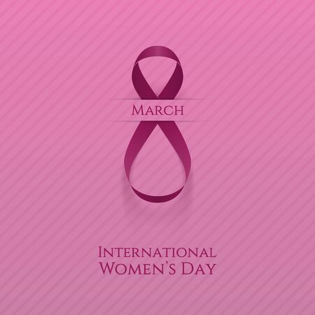 pink girl: March 8. International Womens Day greeting Card Template. Vector Illustration Illustration