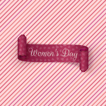 wallpaper International Women s Day: Pink scroll Ribbon. International Womens Day greeting Card Template. Vector Illustration